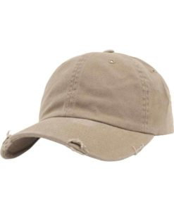 FlexFit Low Profile Destroyed Khaki Cap 6 Panel - verstellbar
