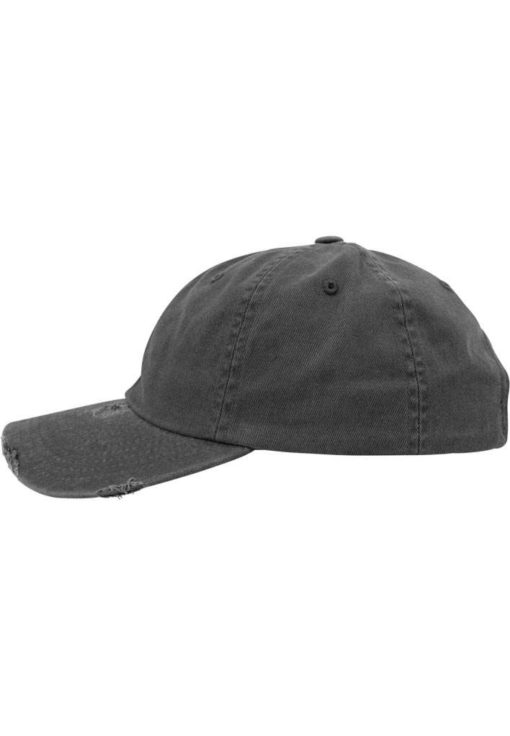 FlexFit Low Profile Destroyed Dunkelgrau Cap 6 Panel - verstellbar Seitenansicht links