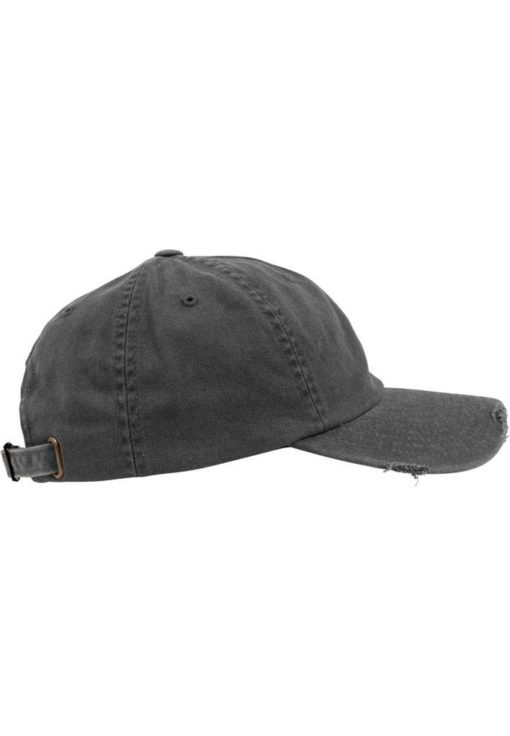 FlexFit Low Profile Destroyed Dunkelgrau Cap 6 Panel - verstellbar Seitenansicht rechts