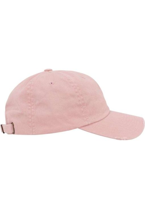 FlexFit Low Profile Destroyed Pink Cap 6 Panel - verstellbar Seitenansicht rechts