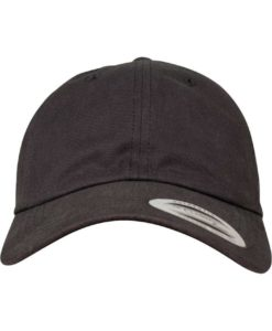 FlexFit Cap Peached Cotton Twill Dad Schwarz - verstellbar Ansicht vorne