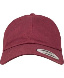 FlexFit Cap Peached Cotton Twill Dad Maroon - verstellbar Ansicht vorne