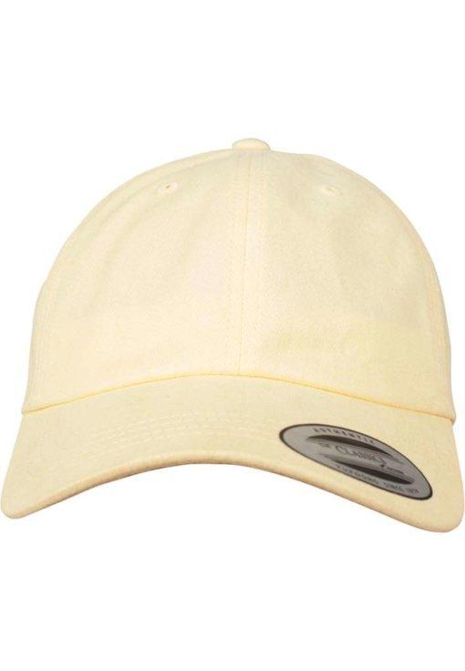 FlexFit Cap Peached Cotton Twill Dad Gelb - verstellbar Ansicht vorne