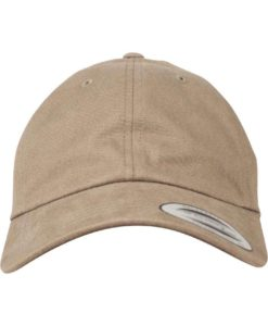 FlexFit Cap Peached Cotton Twill Dad Hellbraun - verstellbar Ansicht vorne