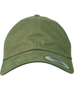FlexFit Cap Peached Cotton Twill Dad Olive - verstellbar Ansicht vorne