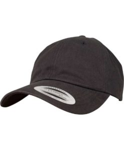 FlexFit Cap Peached Cotton Twill Dad Schwarz - verstellbar
