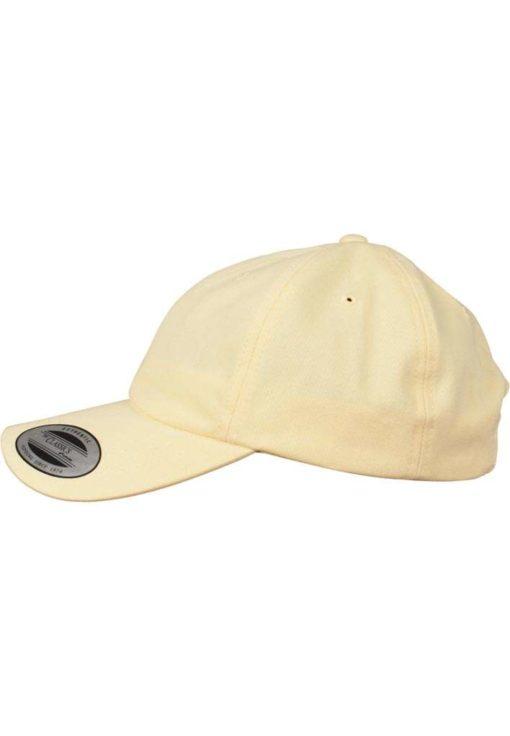 FlexFit Cap Peached Cotton Twill Dad Gelb - verstellbar Seitenansicht links