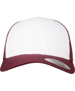 Retro Trucker Cap Colored Front Maroon/Weiß/Maroon - verstellbar Ansicht vorne