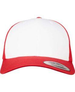 Retro Trucker Cap Colored Front Rot/Weiß/Rot - verstellbar Ansicht vorne