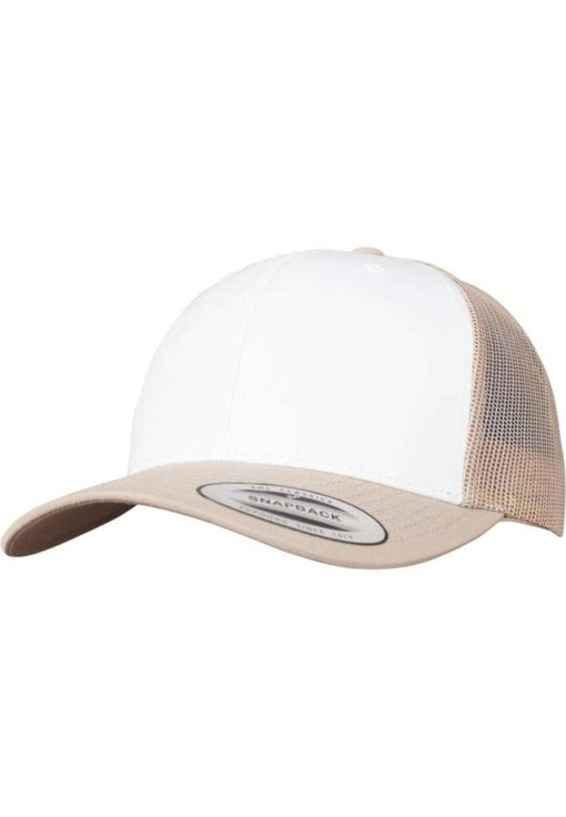 Retro Trucker Cap Colored Front Khaki/Weiß/Khaki - verstellbar