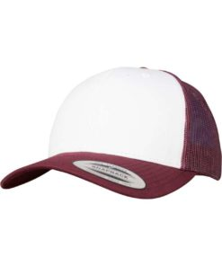 Retro Trucker Cap Colored Front Maroon/Weiß/Maroon - verstellbar