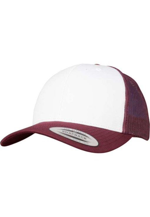 Retro Trucker Cap Colored Front Maroon/Weiß/Maroon - verstellbar