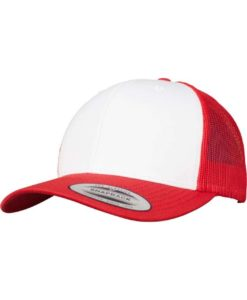 Retro Trucker Cap Colored Front Rot/Weiß/Rot - verstellbar