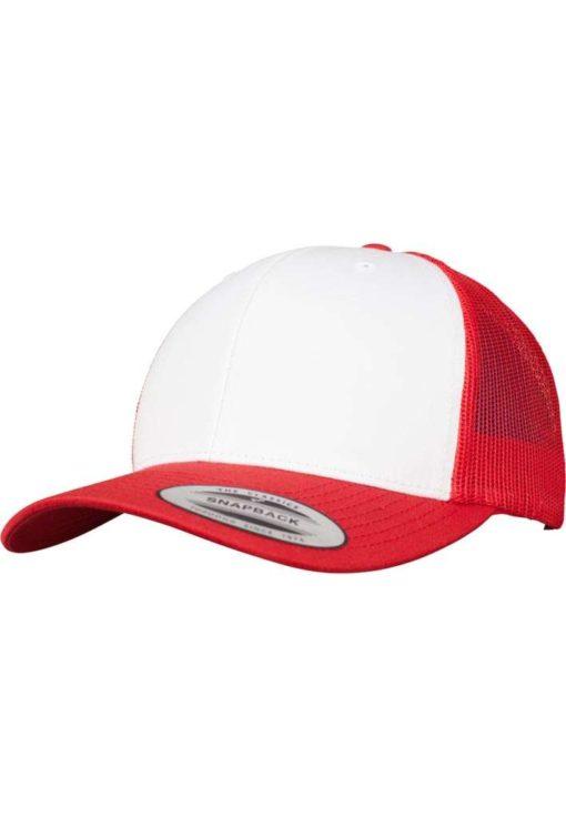 Retro Trucker Cap Colored Front Rot/Weiß/Rot - verstellbar