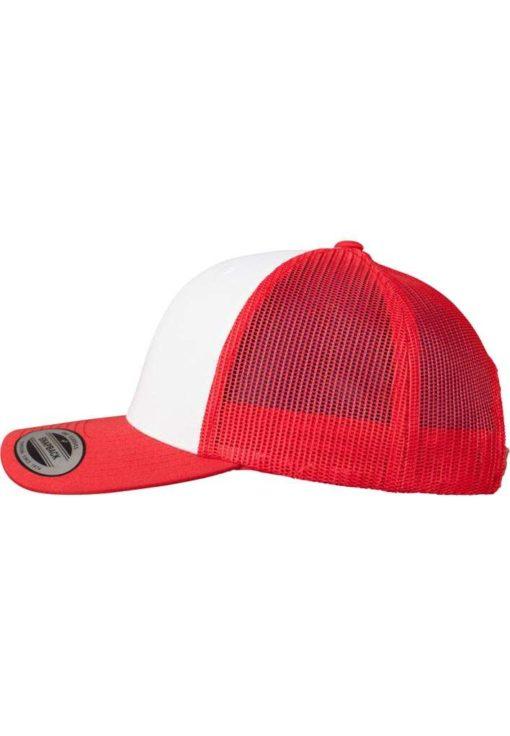 Retro Trucker Cap Colored Front Rot/Weiß/Rot - verstellbar Seitenansicht links