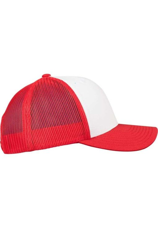 Retro Trucker Cap Colored Front Rot/Weiß/Rot - verstellbar Seitenansicht rechts