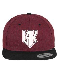 L4K Weiß Premium Snapback Cap Melange Rotmeliert/Schwarz 6 Panel - verstellbar