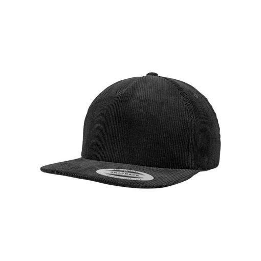 Premium Corduroy Snapback Schwarz Baseball Cap schwarz