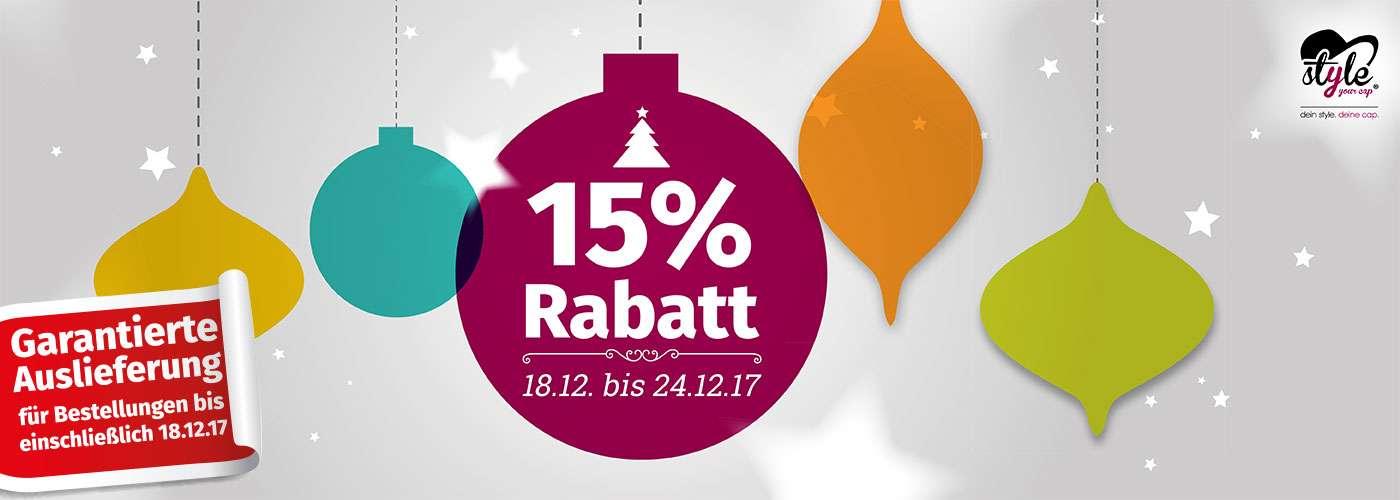 Weihnachtsrabattaktion von 18.12 bis einschließlich 24.12.17