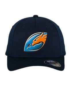 rostock-griffins-logo-mit-ball-flexfit-cap-dunkelblau-5-panel-fitted-1