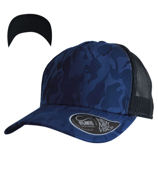 atlantis-rapper-camou-trucker-cap-royal-black-verstellbar