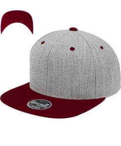 standard-snapback-cap-classic-graumeliertdunkelrot-6-panel-verstellbar